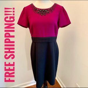 Tahari Purple and Black Embellished Dress Sz 14